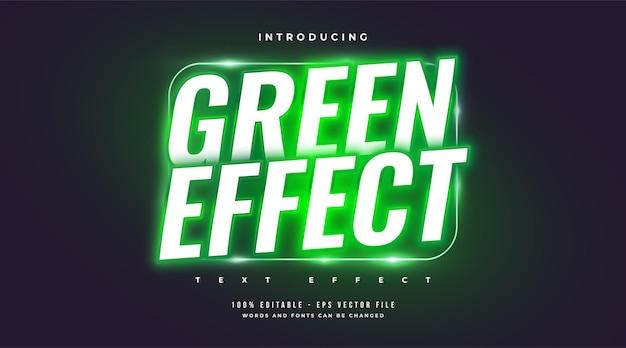 Estilo de texto verde en negrita en efecto neón verde brillante