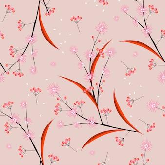 Estilo y tono dulce línea minimalista y flores geométricas que soplan en el viento patrón sin costuras en diseño vectorial para moda, tela, tela, papel tapiz y todas las impresiones