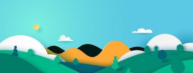 Estilo verde del arte del papel de fondo de la bandera del paisaje del paisaje de la naturaleza. ilustración del vector.