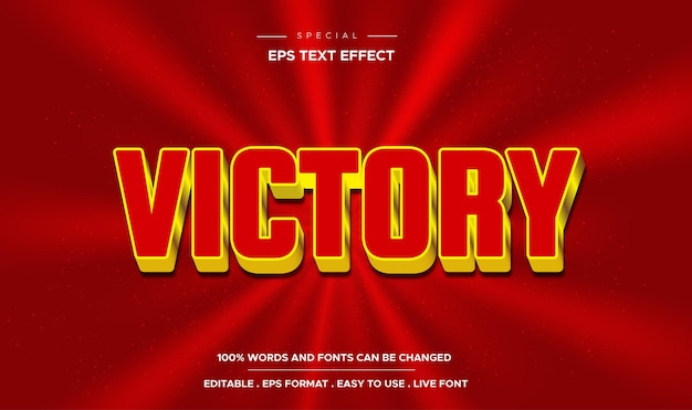 Estilo de victoria de efecto de texto editable