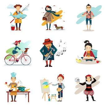 Estilo de vida activo, pasatiempos, conjunto de iconos de estilo de vida saludable