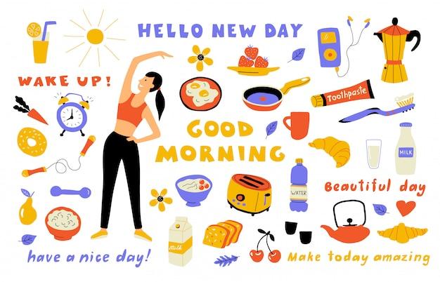 Estilo de vida matutino, lindo doodle con letras. mujer de dibujos animados realizando ejercicio, comida de desayuno. dibujado a mano ilustración.