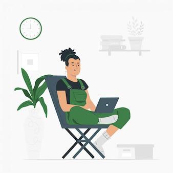 Estilo de vida de mujer, trabajando desde casa
