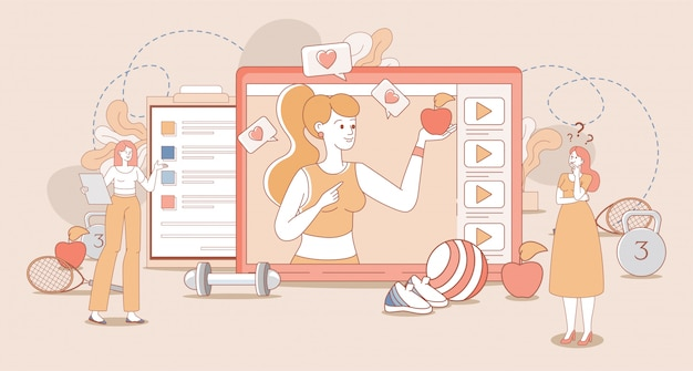 Estilo de vida saludable, blog deportivo, concepto de esquema de dibujos animados de canal vlog. mujer en ropa deportiva con manzana.