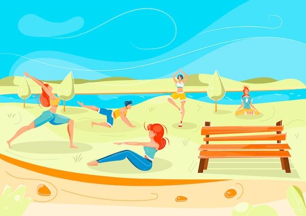 Estilo de vida saludable con símbolos de fitness al aire libre planos