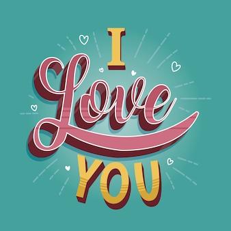 Estilo vintage para el concepto de letras de amor
