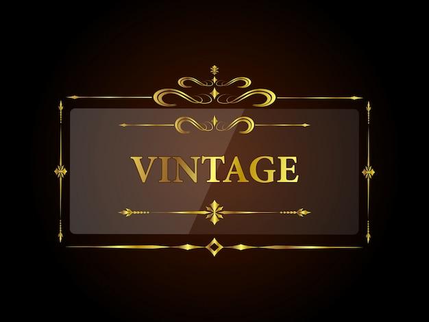 Estilo vintage de marco dorado