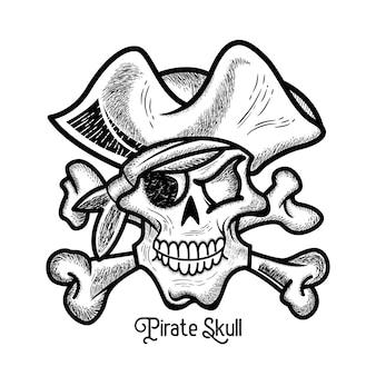 Estilo vintage dibujado a mano de calavera pirata