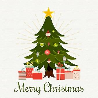 Estilo vintage de fondo de árbol de navidad