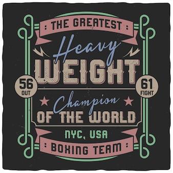 Estilo vintage de letras de boxeo