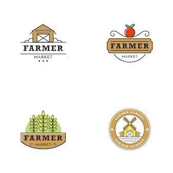 Estilo del vintage del logotipo del mercado del granjero