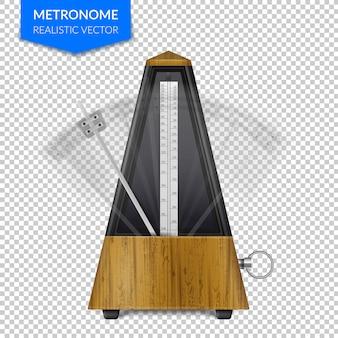 Estilo vintage de madera de metrónomo clásico con péndulo en movimiento en transparente realista