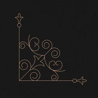 Estilo vintage de marco de esquina de vector de adorno de oro