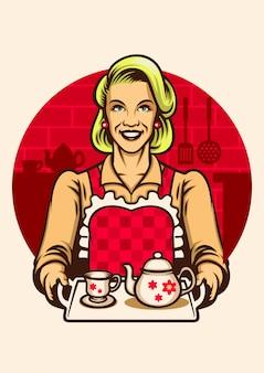 Estilo vintage de mujeres con delantal y presentando un juego de té