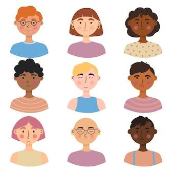 Estilos de avatares para diferentes personas