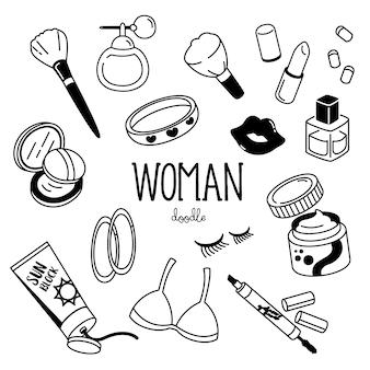Estilos de dibujo a mano con artículos de mujer. doodle artículo de mujer.