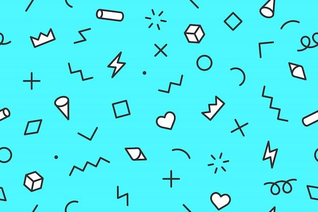 Estilos de patrones gráficos sin fisuras sobre fondo de color azul