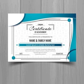 Estiloso certificado ondulado azul