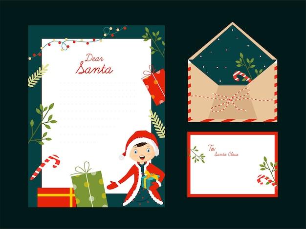 Estimado santa carta o tarjeta de felicitación con espacio para texto
