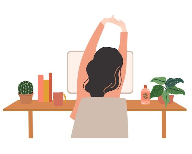 Estiramiento del cuerpo mientras trabaja vectpr ilustración