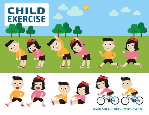 Estiramiento de los niños. concepto de ejercicio de flexibilidad. elementos infográficos.