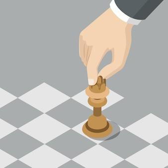 Estrategia caballero mover concepto de negocio plano