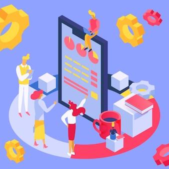 Estrategia de comercialización isométrica del trabajo en equipo, ilustración. la gente de negocios mira el concepto de tecnología de gráfico infográfico.