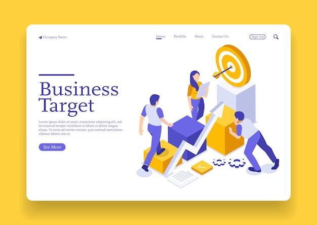 Estrategia de crecimiento y concepto de objetivo financiero gráfico de crecimiento y objetivo como exitoso con el equipo