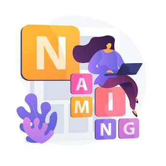 Estrategia de la empresa de naming. identidad, branding, promoción. estudiante del departamento de la universidad de marketing con ordenador portátil sentado en caracteres planos de bloques de letras.