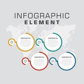Estrategia empresarial de cuatro puntos de elemento infográfico abstracto con iconos