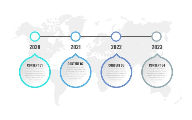 Estrategia empresarial de cuatro puntos con elementos infográficos