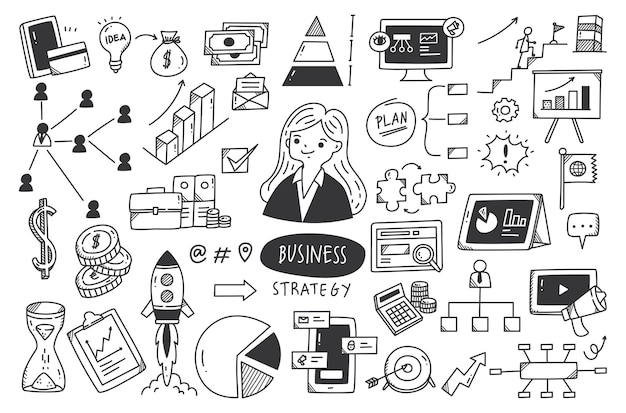 Estrategia empresarial doodle conjunto ilustración vectorial