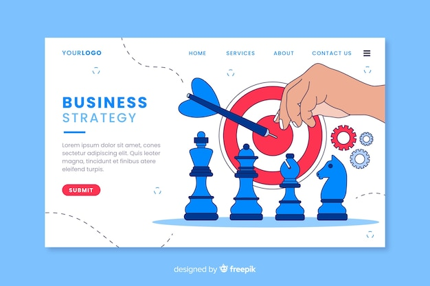 Estrategia empresarial con página de aterrizaje de piezas de ajedrez