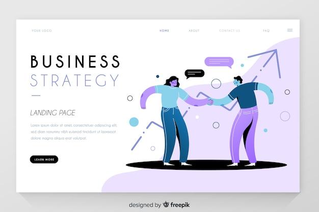 Estrategia empresarial con página de inicio de estadísticas