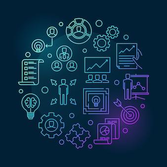 Estrategia empresarial ronda ilustración de icono de contorno de color