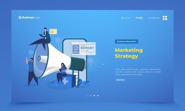 Estrategia del equipo de marketing en la página de destino.