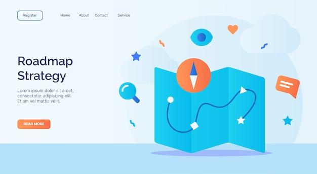 La estrategia de la hoja de ruta mapea la campaña del icono de la brújula para la plantilla de aterrizaje de la página de inicio del sitio web con estilo de dibujos animados.