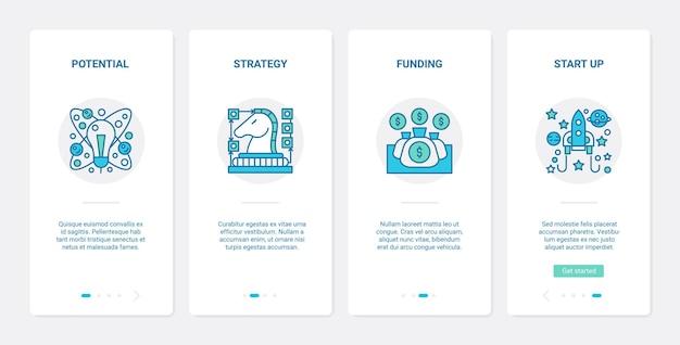 Estrategia de línea de éxito de inicio de negocios ux ui onboarding conjunto de pantallas de página de aplicaciones móviles