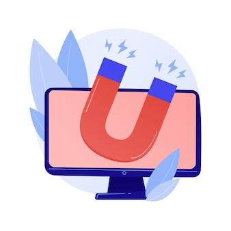 Estrategia de marketing de atracción de clientes. orientación digital, campaña publicitaria, generación de leads. imán en el monitor de la computadora aislado elemento de diseño ilustración del concepto