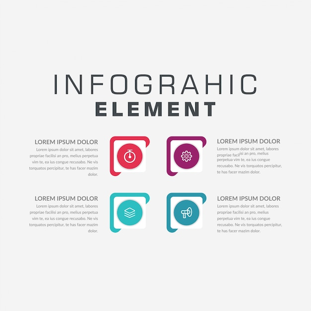 Estrategia de marketing de infografía de cuatro puntos