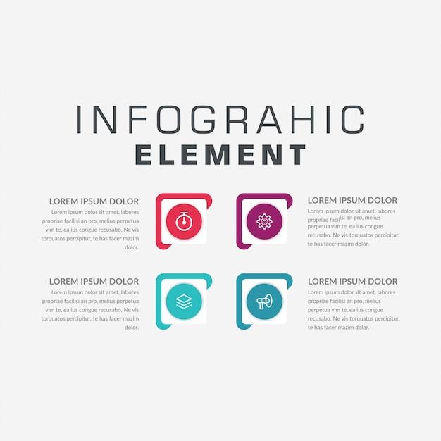 Estrategia de marketing de infografía de cuatro puntos