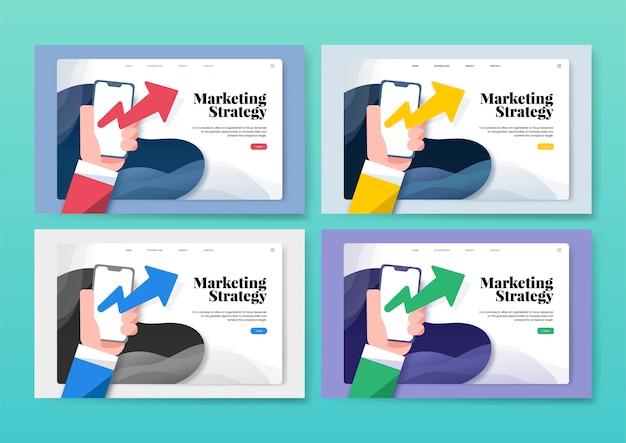 Estrategia de marketing informativa del sitio web gráfico.
