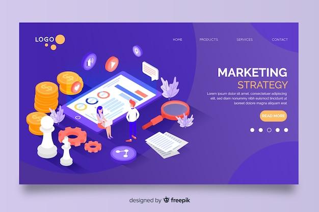 Estrategia de marketing en página de inicio de diseño isométrico