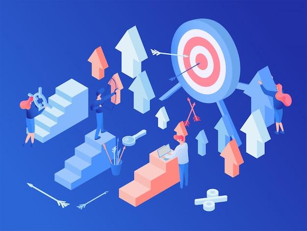 Estrategia de marketing en redes sociales isométrica.