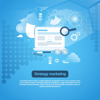 Estrategia de marketing web banner con copia espacio sobre fondo azul