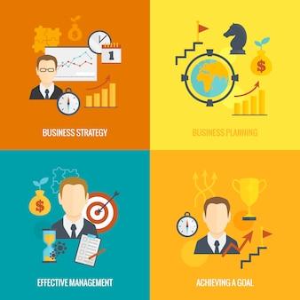 Estrategia de negocio planeando elementos de composición plana.