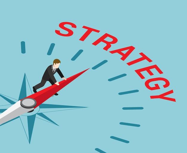 Estrategia en negocio plano isométrico.