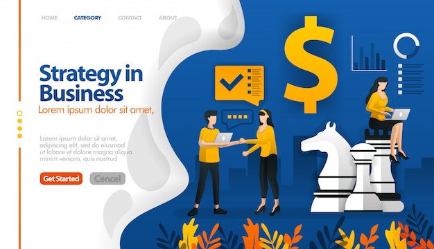 Estrategia de negocios con ajedrez y dinero, concepto de ilustración de vector de planificación de marketing