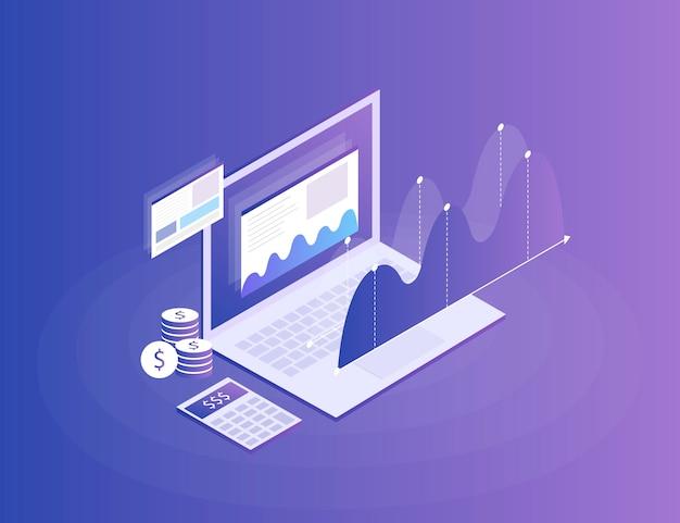 Estrategia de negocios. análisis de datos e inversiones. éxito empresarial revisión financiera con elementos portátiles y de infografía. plano isométrico 3d ilustración