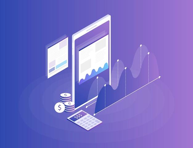 Estrategia de negocios. análisis de datos e inversiones. éxito empresarial revisión financiera con el teléfono y elementos infográficos. plano isométrico 3d ilustración